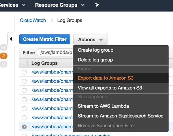 Exporting CloudWatch logs for analysis using AWS Athena
